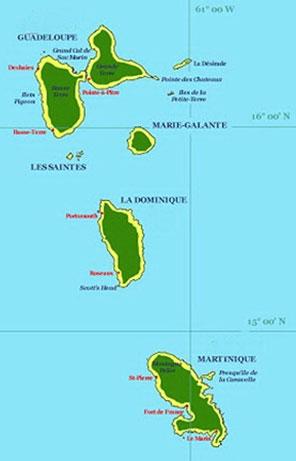 Carte de la Caraïbe